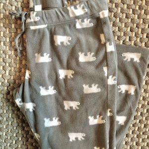 Fleece Polar Bear Pants in Gray